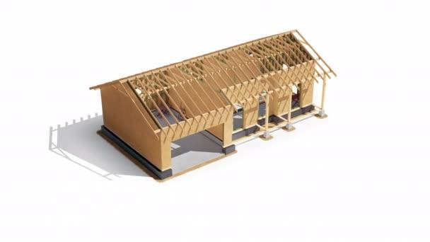 Holzrahmenkonstruktion und Sperrholzwände des Gebäudes, Entwicklung im Gange. Bauphase. 60 fps Animation.