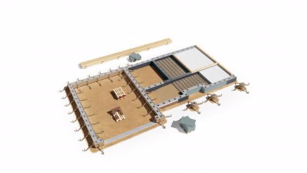 Schritte des Baus von Holzrahmen modernes Haus. Kellerbühne. Stufe 1 von 7. 60 fps Animation.