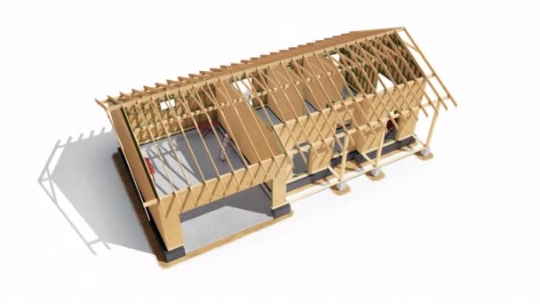 Stadien der Konstruktion von Holzrahmen modernes Haus. Sparren, Balken, Osb. Prozess 4 von 7. 60 fps Animation.