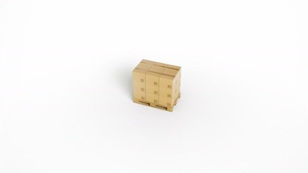 A felülnézet és a kamera zoom fehér háttéren elkülönített fa raklapkartondobozokkal van tárolva. 60 fps-animáció.