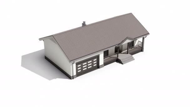 Finished wood frame construction  house with plaster on facade and bituminous soft roofing isolated on white background. 60 fps animation.