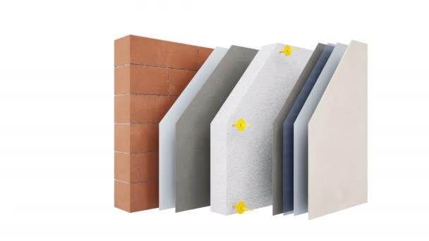 Konstrukce stěny: cihly nebo bloky, Čítanka, lepidla, pěna, sádra a plášť. animace 60 fps.