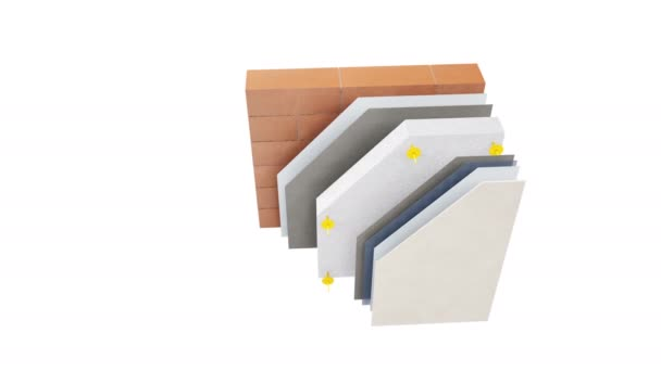 Vrstvy stěn: cihly nebo bloky, Čítanka, lepidla, pěna, sádra a plášť. animace 60 fps.