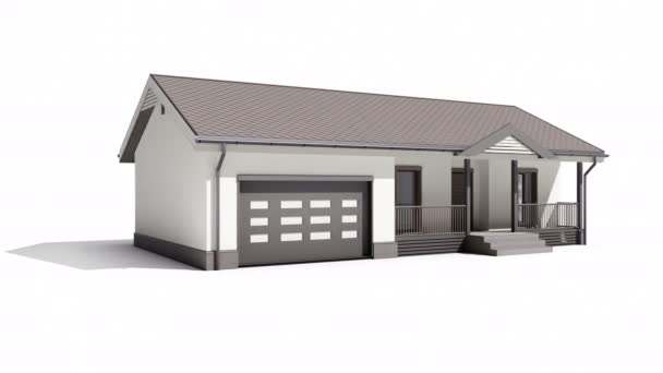 Modern wood frame house with white plaster finishing on white background. 60 fps animation.