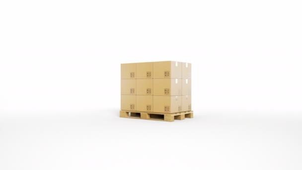 Fából készült raklap, barna kartondobozok fehér háttér. Kamera zoom. 60 fps-animáció.