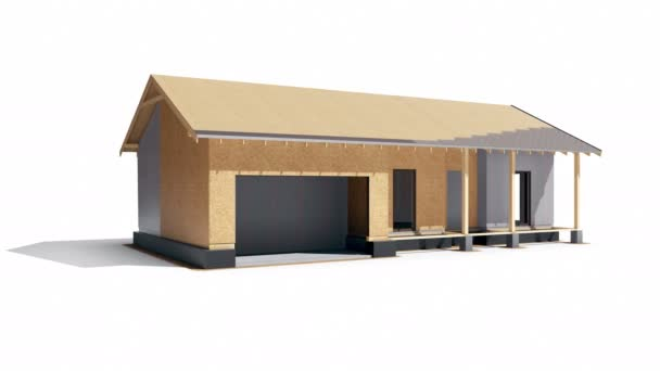 Set 3 Stage 5 of 7. Stage of developing process of wood frame construction building. 60 fps animation.