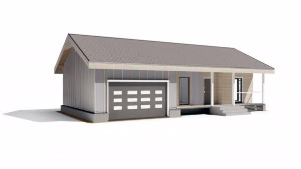 Nastavení 3 fáze 6 ze 7. Fáze stavebního procesu u moderního dřevěného rámu stavby. animace 60 fps.