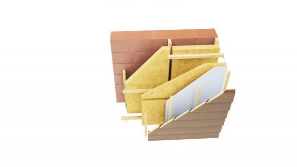 Vrstvy stěn: cihly nebo bloky, minerální vlna, dřevěná konstrukce, dřevěné obložení nebo panely. animace 60 fps.