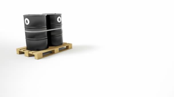 Két fém fekete hordó olaj szimbólum található fa raklap, elszigetelt fehér háttér. Hordók pántos a szalagot. Kamera teherautó mozgását. 60 fps-animáció.