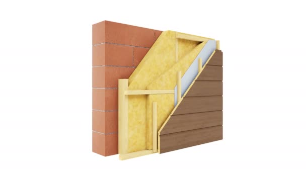 Cutaway of wall structure. Presentation of wall technology. Visible elements: brown bricks or blocks, wooden frame, mineral wool insulation, wooden paneling. 60 fps animation.