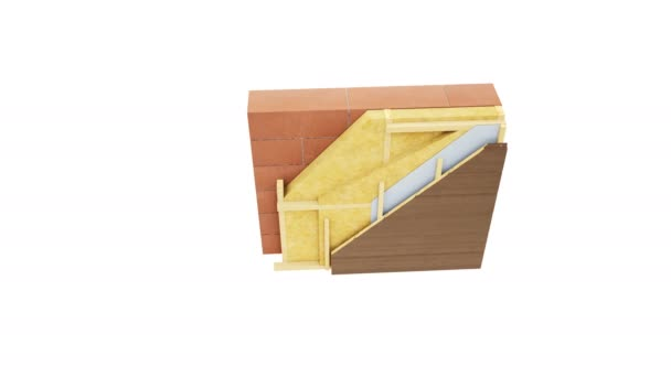 Cross section of wall structure. Presentation of wall technology. Visible elements: brown bricks or blocks, wooden frame, mineral wool insulation, wooden paneling. Top view. 60 fps animation.