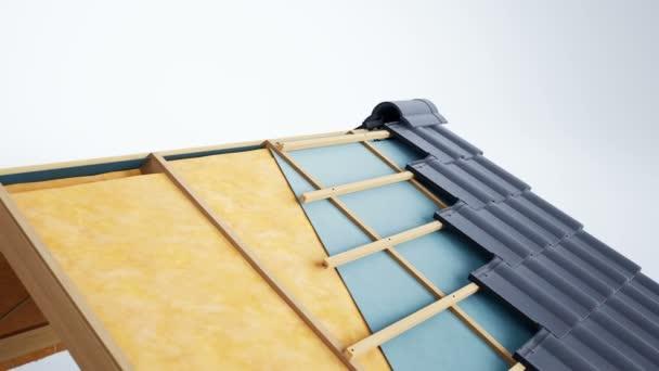 Průřez. Viditelné izolace, vlna, konstrukce a šedé klasické keramické dlaždice. animace 60 fps.