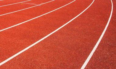 red athletic track path, stadium