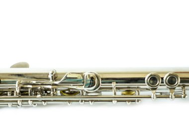 musical flute in studio on white background