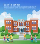 Šťastné školní děti před školou. Šablona návrhu