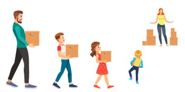 Illustration of a Stickman Family Carrying Cardboard Boxes Moving In Their New Home icon