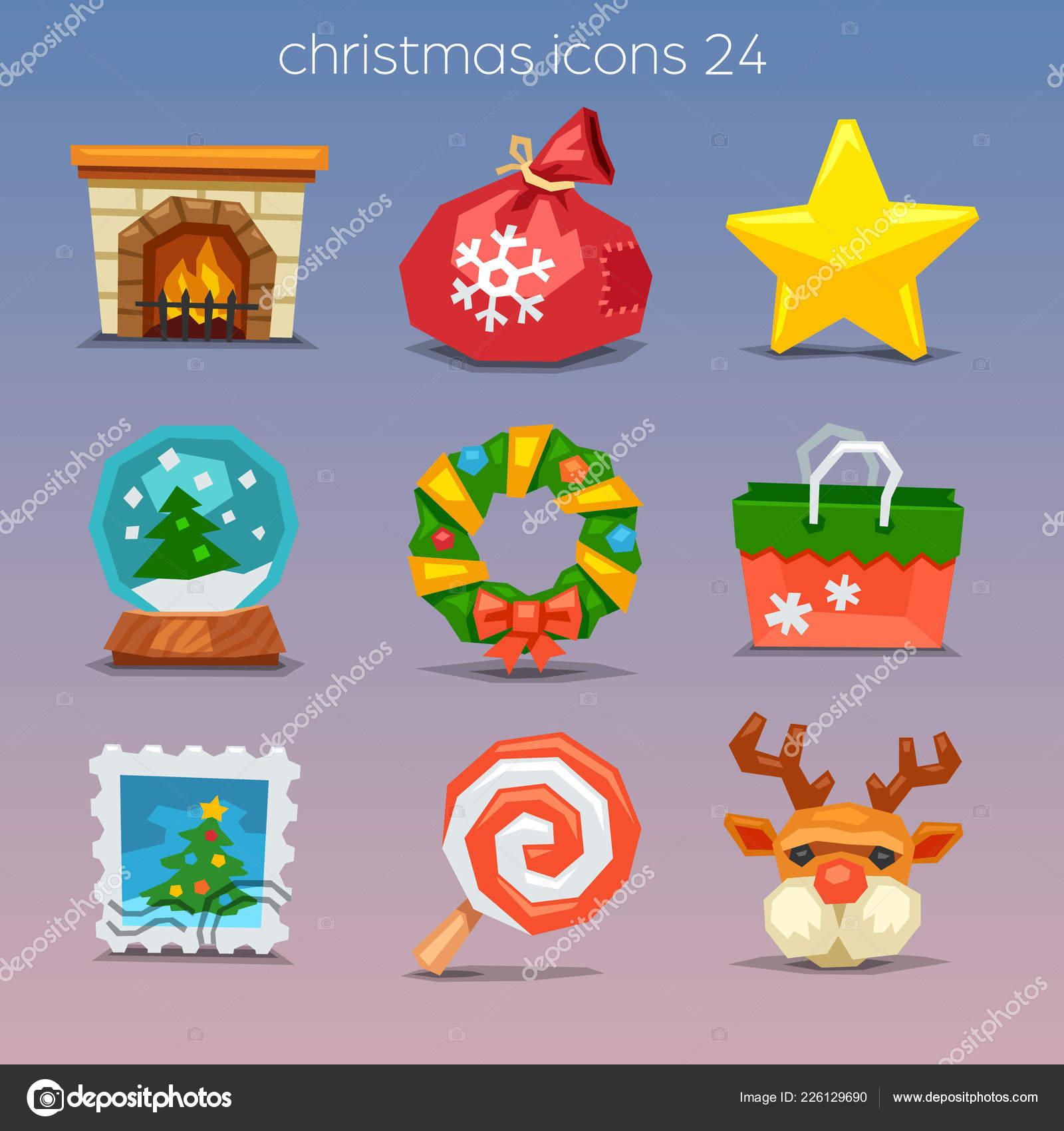 Funny Merry Christmas Icons Set — Stock Vector © Kolopach #226129690