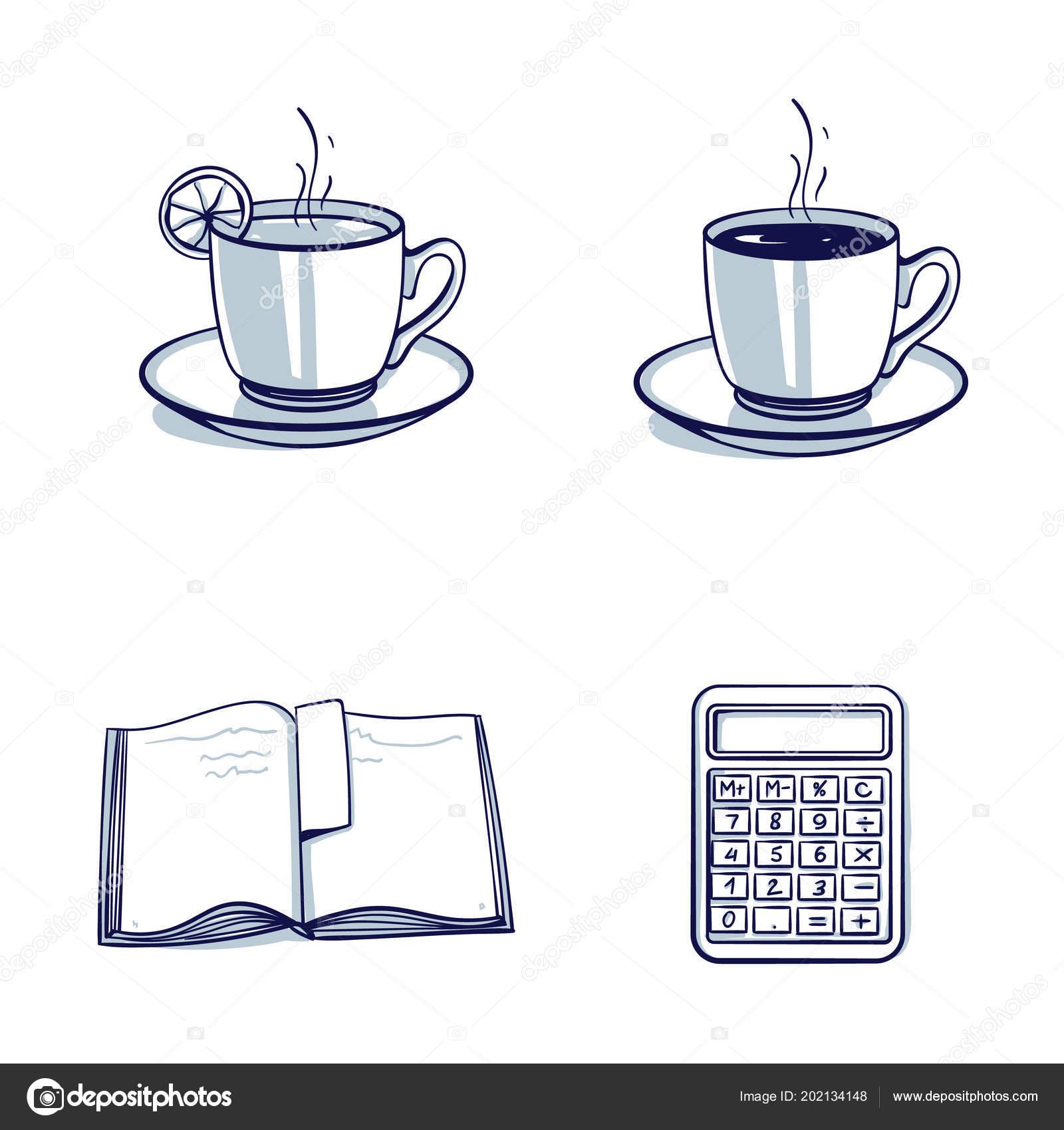 Valeur Ouvert Tasse Thé Une Livre Calculatrice Café Objet tQdCrsh