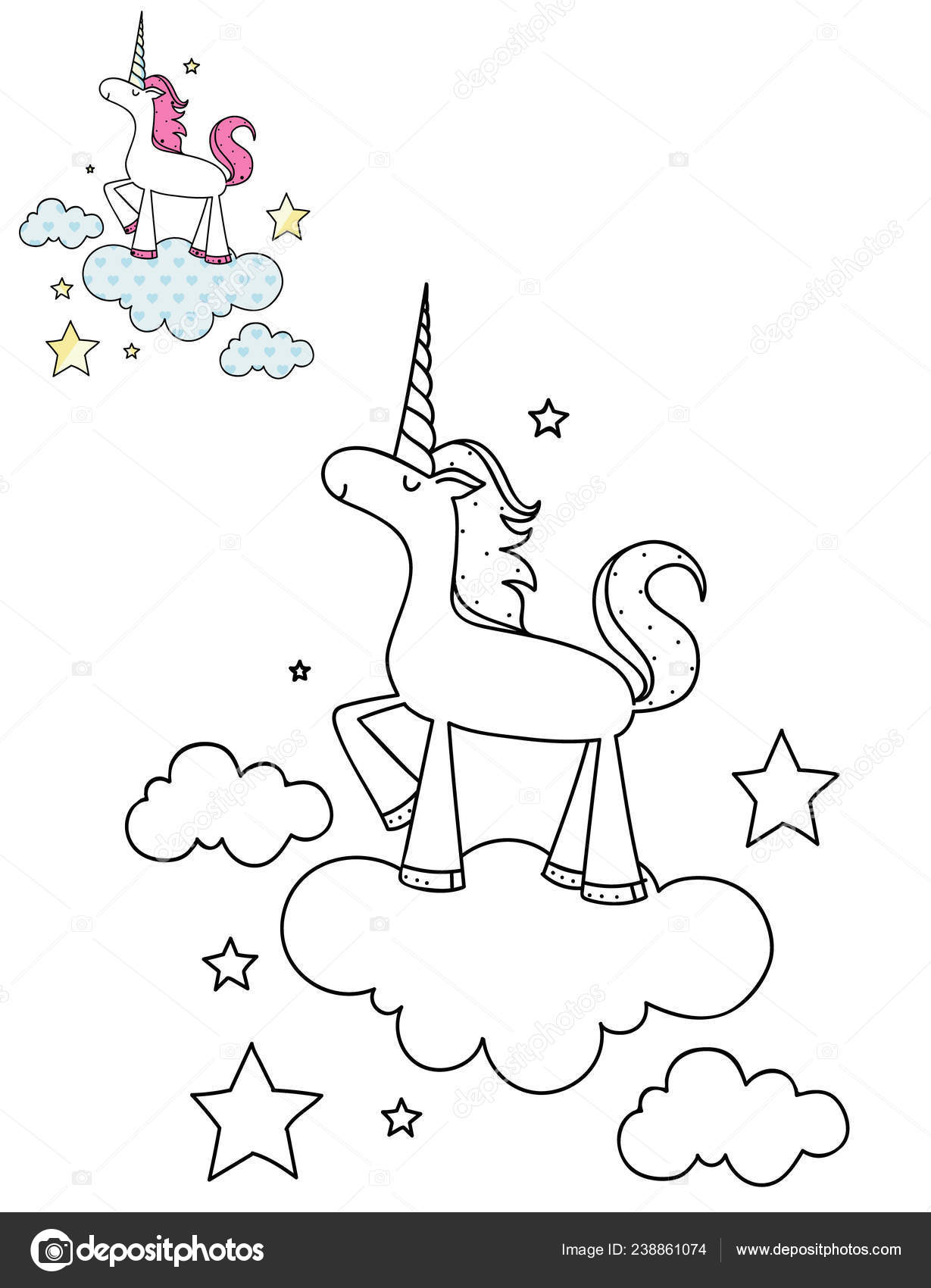 Coloring Page Outline Cartoon Cute Unicorn Cloud Hand Drawn Vector ...