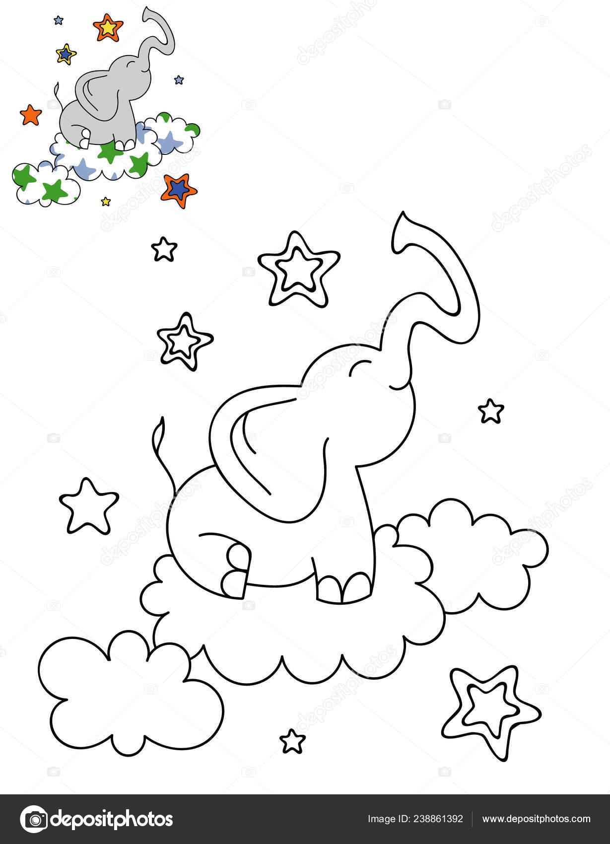 Kleurplaten Over Olifanten.Kleurplaat Paginaoverzicht Van Cartoon Schattig Olifant Een