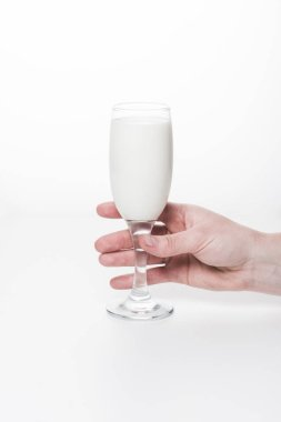Cropped shot of woman holding wineglass of milk isolated on white stock vector