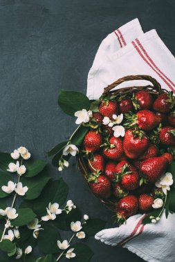 top view of fresh ripe strawberries and beautiful jasmine flowers on black