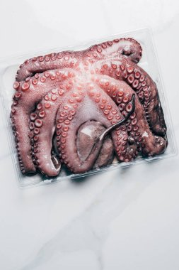top view of uncooked octopus in plastic container on marble surface