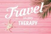 Fotografie pohled shora z mušle s dlaní listy na růžový dřevěný povrch s cestování je moje terapie nápisy