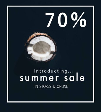 half of tasty healthy coconut isolated on black with summer sale lettering