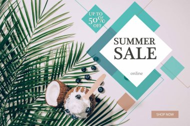 Top view of delicious coconut ice cream with blueberries and green palm leaves on white with summer sale sign