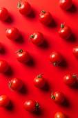 Draufsicht auf Muster von Kirschtomaten auf roter Oberfläche