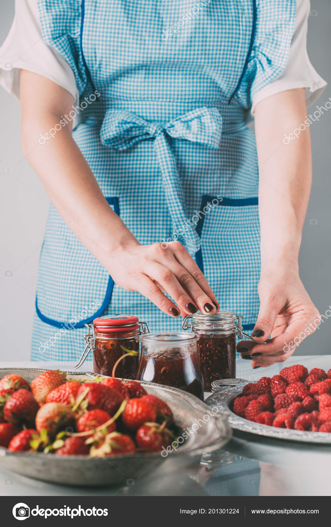 Partial View Woman Doing Jam Strawberries Raspberries Kitchen ...