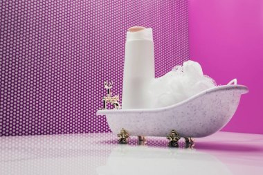 toy bath with real size shampoo bottle and bast in miniature room