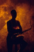 silhouette of young musician sitting on stool with saxophone in smoke