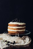 Fotografie delicious blackberry cake on glass stand and on cheesecloth