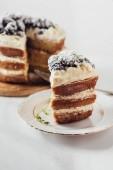 Fotografia colpo del primo piano della torta deliziosa blackberry affettato sulla zolla