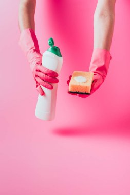 cropped image of female cleaner in rubber gloves holding washing sponge and cleaning fluid