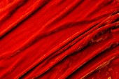 top view of red velvet textile as background