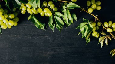 top view of fresh ripe grapes and green leaves on black wooden background