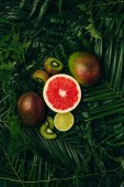 Fotografie top view of mangos, kiwi, lime and grapefruit on palm leaves