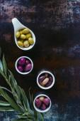 pohled shora složek pro olivový olej a větvičky na omšelé povrchu
