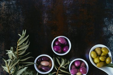 elevated view of different olives for olive oil and twigs on shabby surface