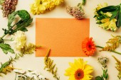 Photo flat lay with various wildflowers around blank orange card on beige background