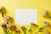 Fényképek flat lay with beautiful wildflowers and blank card arranged on yellow backdrop