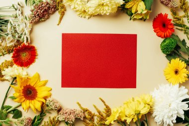 flat lay with various beautiful flowers and blank red card on beige background