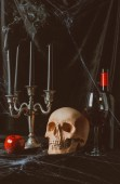 Fotografie skull, apple, red wine and candelabrum with smoky candles on black cloth with spider web
