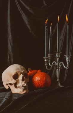 Skull, pumpkins and candelabrum with candles on black cloth stock vector