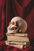 halloween skull on ancient books on red cloth, still life with witchcraft