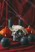 Fotografia cranio di halloween con zucche sul panno rosso con ragnatela, candele nere e fiori in argento