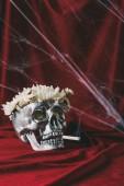 Fotografie silbernen Totenkopf mit Blumen auf rotem Tuch mit Spinnennetz Zigarette rauchen